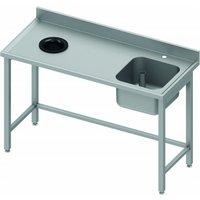 Table de chef inox avec vide ordure - bac à droite - profondeur 700 - stalgast     1000x700                     700. Table de chef avec vide ordure et
