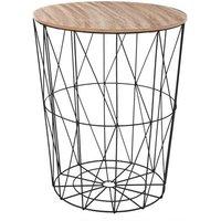 Atmosphera - table de café métal noir kumi gm. Poids : 2 kg Matière : MDF, paulownia, acier Dimensions : D. 47 x H. 57 cm. AC-DECO