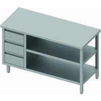 Table inox cuisine professionnelle - 3 tiroirs & 2 etagères à droite - gamme 700 - stalgast     1700x700                     700. Table inox cuisine p