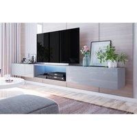 Meuble tv suspendu - leo - 300 cm - gris - led. Le coin tv constitue très souvent la partie principale du salon. Un grand téléviseur, un canapé m
