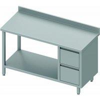 Table inox adossée professionnelle avec 2 tiroirs & etagère - gamme 800 - stalgast      1600x800                    800. Table inox professionnelle do