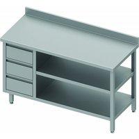 Table inox 3 tiroirs & 2 etagères à droite - gamme 700 - stalgast     1300x700                     700. Table adossée avec 3 tiroirs et 2 étagère