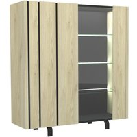 Argentier 2 portes à leds chêne clair/ardoise - forest - l 140 x l 45 x h 151 - neuf. Faites entrer le design dans votre salle à manger ou votre