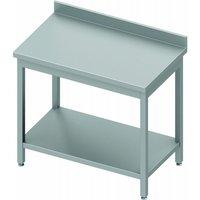 Table inox avec etagère & dosseret - gamme 600 - stalgast                       à monter   600. Table de travail d'une hauteur de 900 mm, adossée avec