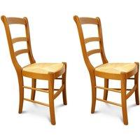 Chaises louis philippe en bois massif (lot de 2). Finition teinté chêne moyen et verni. 100% hêtre, assise en paille de seigle. La chaise Louis P