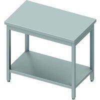 Table inox centrale avec etagère - gamme 600 - stalgast                       à monter   600. Table en acier inox centrale d'une hauteur de 900 mm dot