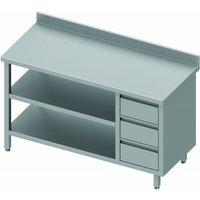 Table inox adossée pro - 3 tiroirs & 2 etagères - gamme 800 - stalgast      1300x800                    800. Table de travail pro dotée d'un dosseret,