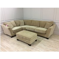 Product photograph showing Hardy Standard Back 1 X 3 Seater Corner Sofa In Sherlock Wheat Fabric With Footstool