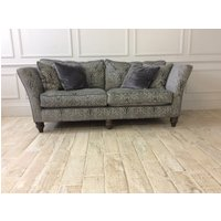 Product photograph showing Ampleforth Large Fixed Back Sofa In Garbo Damask Steel Fabric