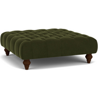 Product photograph showing Charnwood Footstool In Easy Clean Plush Velvet Juniper