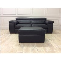 Product photograph showing Fabio 3 Seater Sofa In Premium Leather 20jf With Adjustable Headrests Storage Ottoman
