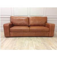 Product photograph showing Sloane 3 5 Seater Sofa Bed In Premium Old English Leather With Upgraded Memory Foam Mattress