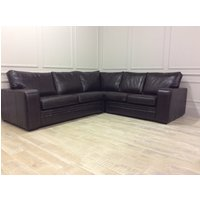 Product photograph showing Sloane 3x2 Seater Corner Sofa In Premium Leather Old English Smoke
