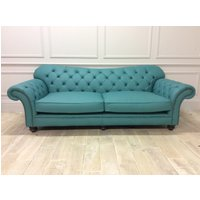 Product photograph showing Woodford 3 5 Seater Sofa In Shelly Leather Dark Teal