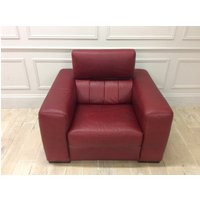 Product photograph showing Florentina Armchair With Adjustable Headrests In Premium Dark Red Leather