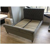 Product photograph showing Avoca King Size Bed In Warwick Plush Velvet Slate