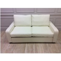 Product photograph showing Sandhurst 3 Seater Sofabed In Winchester White Leather