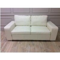 Product photograph showing Camden 3 Seater Sofa In Shelly White Leather