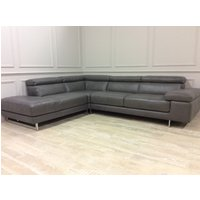 Product photograph showing Milano Leather Chaise Sofa With Adjustable Headrests On Corner