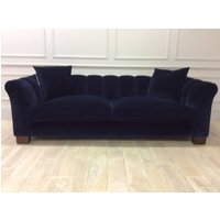 Product photograph showing Grand Rockingham Sofa In Stain Resistant Velvet Navy