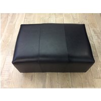 Product photograph showing Sloane Footstool Old English Waxy Coat Leather- Black