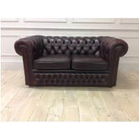 Product photograph showing Austin 2 Seater Chesterfield Sofa In Antique Red Leather