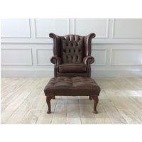 'Queen Anne Scroll Wing Chair Without Castors In Antique Look Tan Leather With Footstool (2 Available)