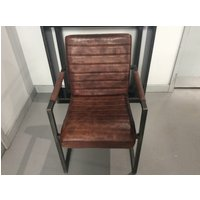 SABINA LEATHER AND METAL DINING CHAIR