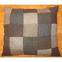 Product photograph showing Harris Tweed Large Patchwork Cushion