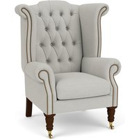 Queen Anne Scroll Wing Chair with Castors