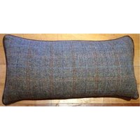Product photograph showing Harris Tweed Cushion With Hide Piping Buttons 3 Sizes
