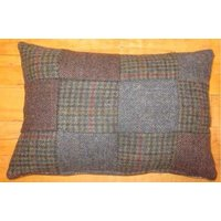Product photograph showing Harris Tweed Small Patchwork Lumbar Cushion