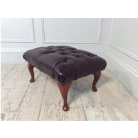 Product photograph showing Queen Anne Footstool In Antique Red