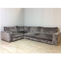 Product photograph showing Ashdown Corner Fabric Sofa In Traviata Velvet Grigio