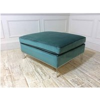 Product photograph showing Duresta Domus Brooklyn Footstool In Duresta Fabric Viridian D5