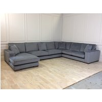 Product photograph showing Ashdown U-shaped Sofa With Chaise In Battleship
