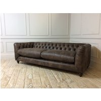 Product photograph showing Dulwich Grand Leather Sofa In Buffed Saddled Timber