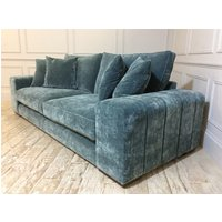 Product photograph showing Epping Grand Sofa In Vintage Velvet Ocean