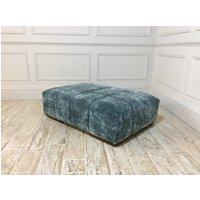 Product photograph showing Epping Large Footstool In Vintage Velvet Ocean