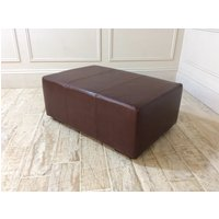 Product photograph showing Sloane Leather Footstool In Old English Hazel