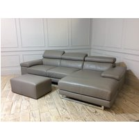 Product photograph showing Milano Leather Chaise Sofa With Footstool In 20jg