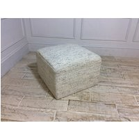 Small Square Footstool in Flecked Fleece