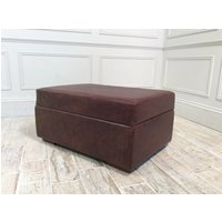Product photograph showing Leather Sloane Ottoman In Cigar