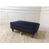 Product photograph showing Galloway Medium Footstool In Velvet Navy
