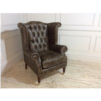 Queen Anne Scroll Wing Chair with Castors in Truffle