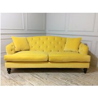 Product photograph showing Paisley Midi Fabric Sofa In Varese Velvet Primrose