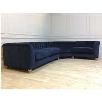 Product photograph showing Dulwich Medium Corner Fabric Sofa In Plush Velvet Indigo Reserved For Mr Simpson