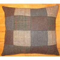 Product photograph showing Harris Tweed Small Patchwork Cushion