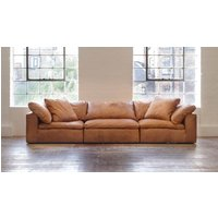 Product photograph showing Feather Extra Deep Leather 5 Seater Sofa