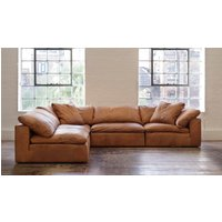 Product photograph showing Feather Extra Deep Leather Corner Sofa